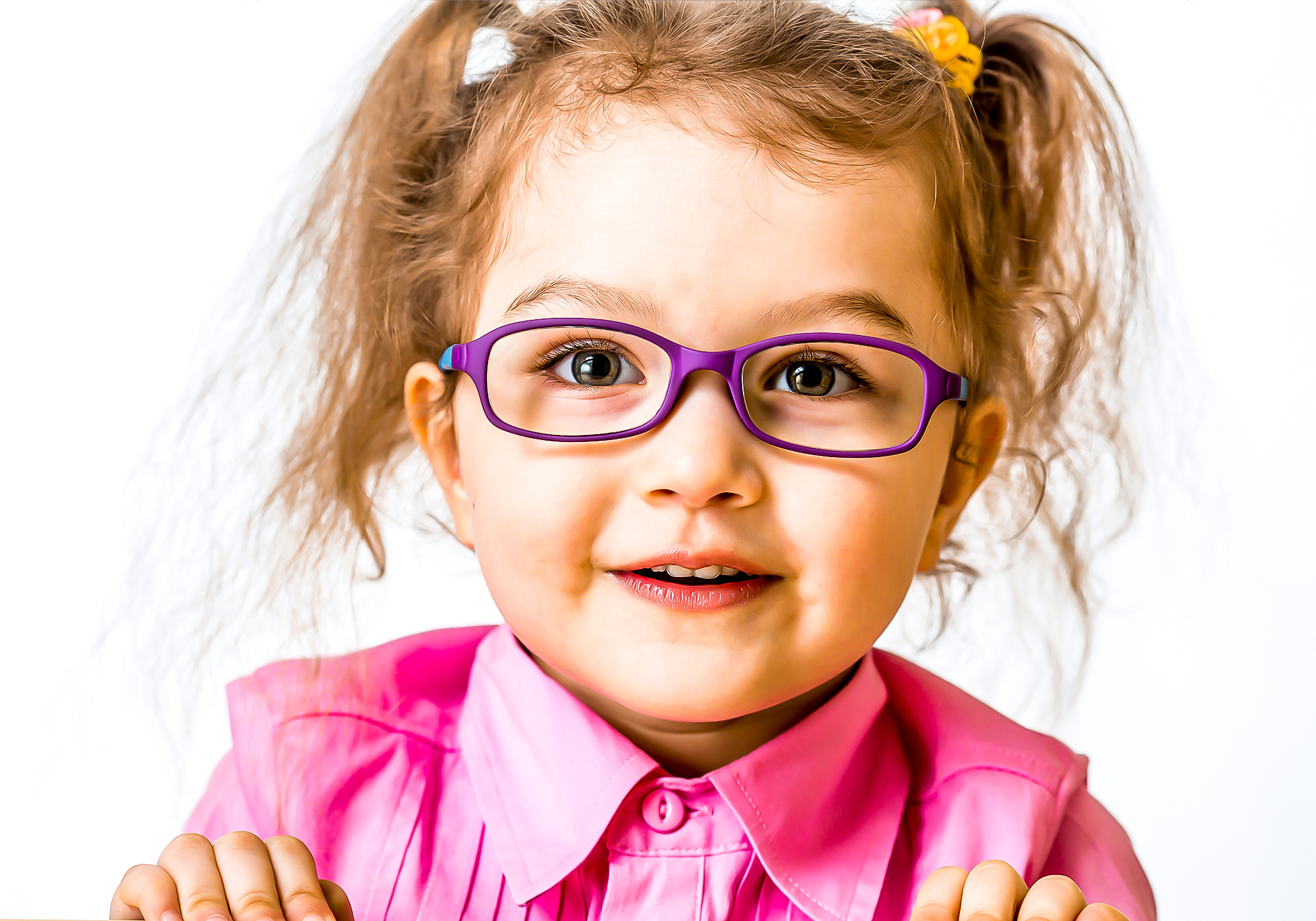 young blonde girl with glasses